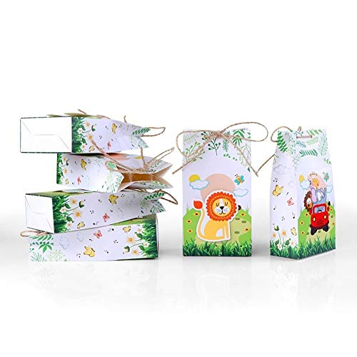 GXY FLZ 12Pcs Safari Animals Favor Box Gift Bags Jungle Birthday Themed Party Decoration Event Party Supplies
