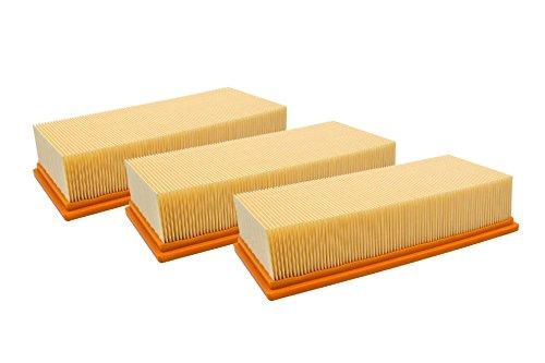 vhbw 3X Flachfaltenfilter Lamellenfilter Filter für Staubsauger, Nass-/Trockensauger, Mehrzwecksauger, Waschsauger Wie Kärcher 6.904-283.0, 69042830