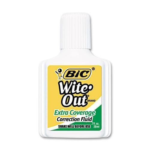 bic-america-wofec12we-wite-out-extra-coverage-correction-fluid-20-ml-bottle-white-1-dozen-by-bic-ame