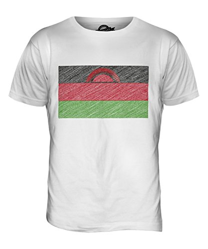CandyMix Malawi Kritzelte Flagge Herren T Shirt Weiß
