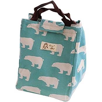 Westeng Sac à Déjeuner en Toile Tote Bento Portable Isotherme épaississement School Lunch Bag Thermique isolé pour Ecole Bureau Voyage Pique-nique ZFQLoWEX9