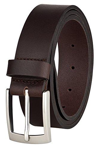 Ledergürtel für Männer von MACOSTA, Freizeit und Business Gürtel aus echtem Leder (95 cm, Braun)