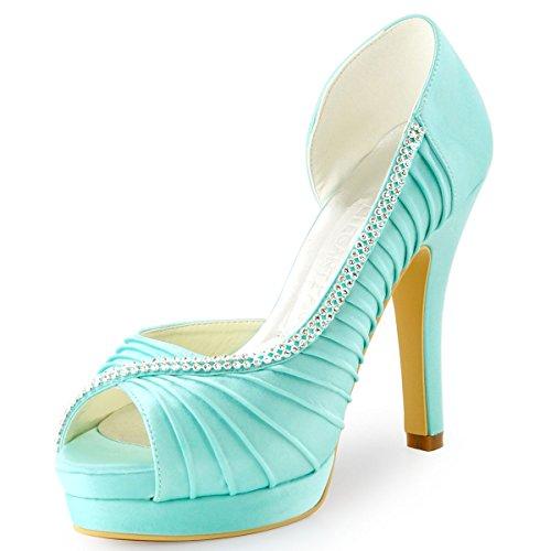 Elegantpark EP11064-IPF Bout Ouvert Pliez Satin Strass Aiguille Talon Pumps Femme Chaussures de Mariage Menthe