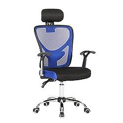 SVITA Ergonomischer Schreibtischstuhl mit hoher Rückenlehne und Kopfstütze Bürostuhl mit Netz-Rücken Farbwahl (blau)