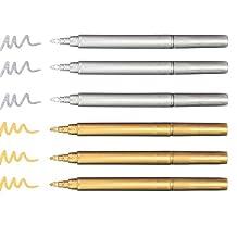 Baker Ross Metallic-filtpennor i guld och silver – kreativt pysselmaterial för barn för julpynt och dekorationer (6 stycken)