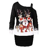 Kanpola Kleider Weihnachten Damen Pullover Weihnachtskleid Off Shoulder Tunika Loose Schulterfrei Print Bodycon Party Elegant Kleider (Schwarz, 36)
