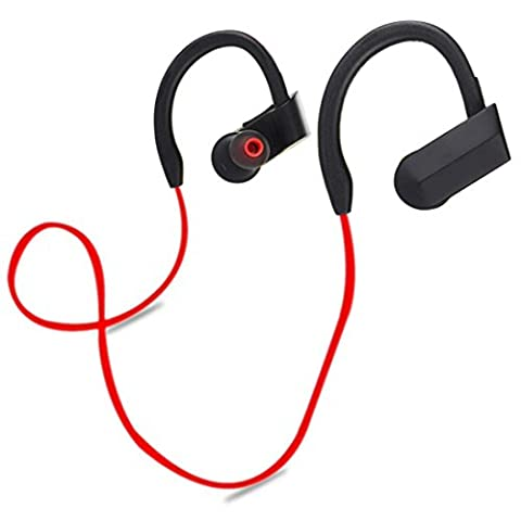 Wireless Bluetooth Headset, FeiliandaJJ Surround Stereo Sport Headband Noise Cancelling Headphone for Smartphones/ Laptops/ Computers/ MAC/ PC, and More (Red)