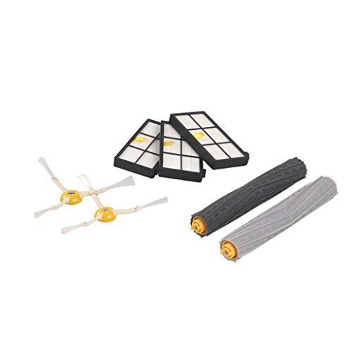 Fulltime® Ersatz-Kits für iRobot Roomba 800/900 Serie Vakuum-Reinigungs-Roboter - Enthält 3 x Hepa-Filter, 2 x 3-Armed Seitenbürste, 1 Paar Tangle-free Debris Extractor, NO Retail Box (Roboter Vakuum Bürsten)