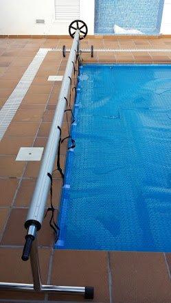 Enrouleur Couverture chauffante pour piscine de max. 5,55 mètres (acier inoxydable et aluminium)