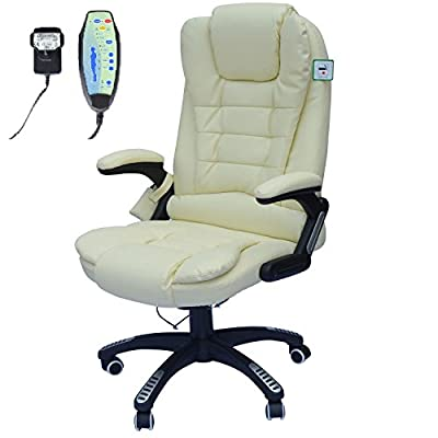 Homcom Deluxe Reclining Faux Leather Office Computer Chair 6-Point Massage High Back Desk Work Swivel Chair Cream - low-cost UK light store.