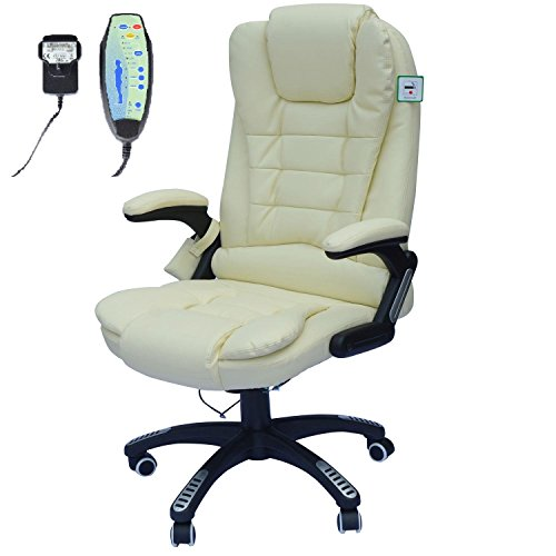 Homcom Deluxe Reclining Faux Leather Office Computer Chair 6-Point Massage High Back Desk Work Swivel Chair Cream