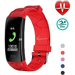 LYY Montre Connectée, Tracker D'activité Etanche IP67 Tension Artérielle Smartwatch avec Moniteur de Sommeil Cardiofrequencemetre Podomètre Montre Cardio pour Android iOS (Rouge)