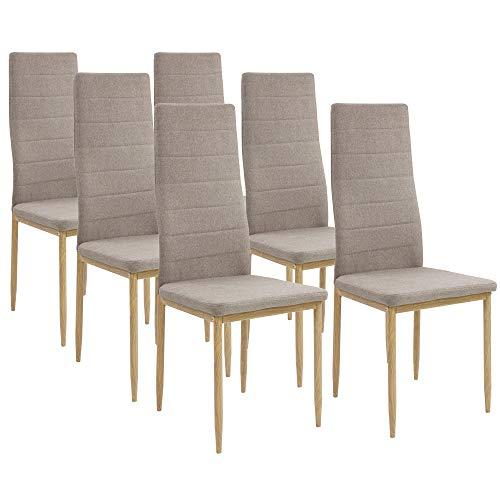 Albatros Esszimmerstühle SAN REMO 6-er Set Cappucino/Braun, Stoffbezug, Bequem & Ergonomisch geformte Lehne, Küchenstühle