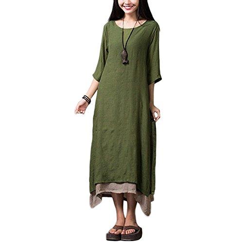 Romacci Vestido Boho Mujer Vintage Split Dobladillo Irregular Casual Boho Largo Flojo Vestido Largo de Color Naranja/Verde Militar/Café, S-5XL