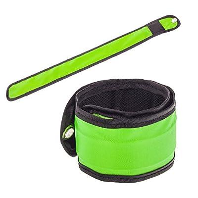 Smartfox LED Armband Klatscharmband Slap Schnapp Leuchtband Reflektorband Sicherheit Licht Knick-Armbänder in grün für Kinder Erwachsene Radfahrer Jogger Wanderer