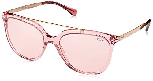 Ralph lauren polo 0ph4135 occhiali da sole, rosa (transparente dark pink), 54 donna