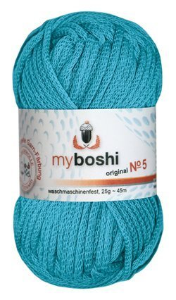 Myboshi No. 5, Farbe 552 türkis, 25g Knäuel, Sommerwolle, häkeln, Seelengarn, 57{d4443dfcc3686b5c9899680a8f5f75ab08f84f620d09569bd0649c3d467ac6c0} Baumwolle und 43{d4443dfcc3686b5c9899680a8f5f75ab08f84f620d09569bd0649c3d467ac6c0} Polyamid, Trendwolle, Häkel- & Strickgarn