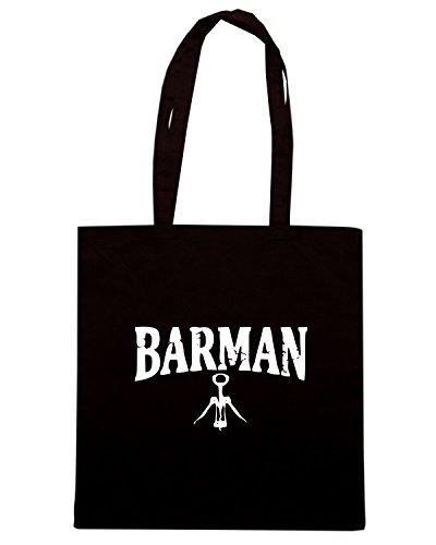T-Shirtshock - Borsa Shopping BEER0161 Barman-Magliette Nero