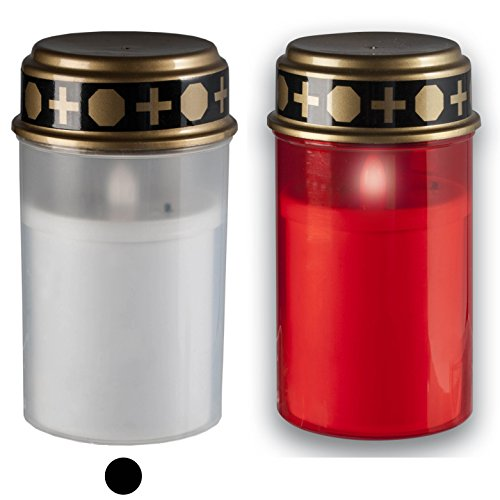 LED-Grablicht weiß mit Batterien und langer Leuchtdauer bis zu 6 Monaten - wind- und wetterfeste LED-Grabkerze mit realistischem Flackereffekt