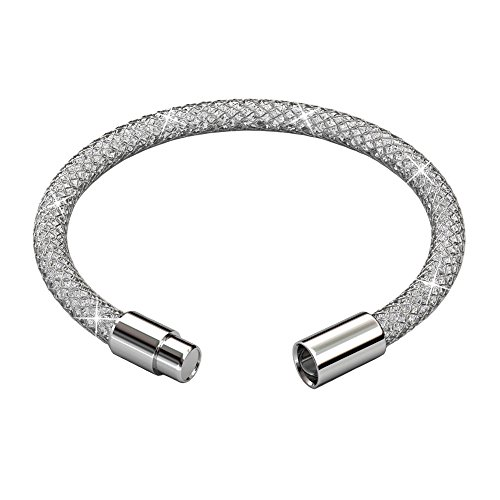 Charme Armband Silber Netzwerk Solid Schnur Anhänger Gefüllt mit Zirkonia Set von Swarovski Geschenk für Dame Geeignet für Weihnachten, Geburtstag, Party und Hochzeit YOURDORA (Liebe Mann-charme-armband)