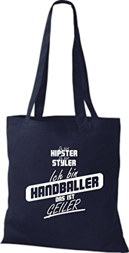 Shirtstown Stoffbeutel du bist hipster du bist styler ich bin Handballer das ist geiler navy