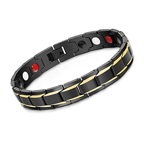 Epoch World Herren Armband, Titan magnetische Armbänder Armreif für Männer mit Klappschließe Ideales Geschenk für den Vatertag, Valentinstag, Weihnachten