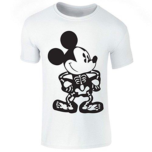 New Men's Haloween Skeleton Mickey Mouse Print T Shirt Top Tee (Medium) White