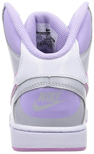 Nike Son Of Force Mid (Gs), Chaussures de basketball fille Multicolore (Wolf Grey/White/Hydragras/White)