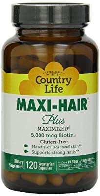 Country Life, Gluten Free, Maxi Hair Plus 5,000 mcg Biotin, 120 Veggie Caps by Country Life