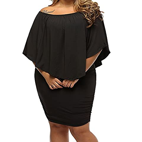 Uranus Women's Off Shoulder Multiple Dress Ruffle Sleeve Layered Party Cocktail Stretchy Dress Plus