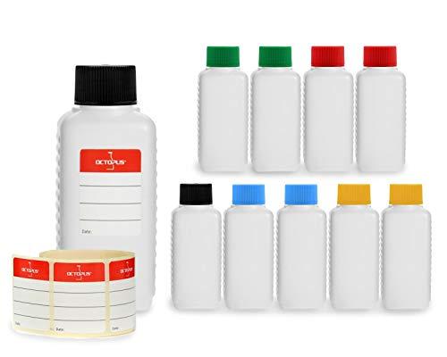 10 x 100 ml Kunststoffflaschen, Plastikflaschen aus HDPE mit unterschiedlich farbigen Deckeln in schwarz, blau, rot, gelb und grün -
