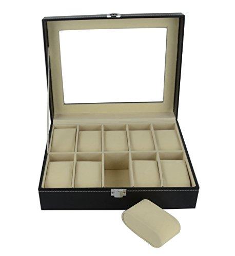 Feibrand Piel sintética relojes con cristal en la rejillas caja 10