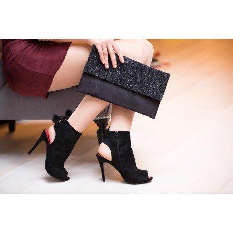 Ideal Shoes - Bottines peep toe ouvertes à l'arrière et effet daim Janaelle Noir