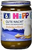 Hipp Milchbreie im Glas - Gute Nacht - ohne Zuckerzusatz, Dinkelgrießbrei, 6er Pack (6 x 190 g)