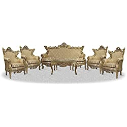 Casa Padrino baroque sofa set 3 seat sofa 4 armchairs and table with glass top - Baroque Living Room