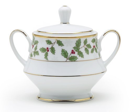 Noritake Holly & Berry Gold Sugar Bowl with Cover by Noritake Gold Berry Bowl