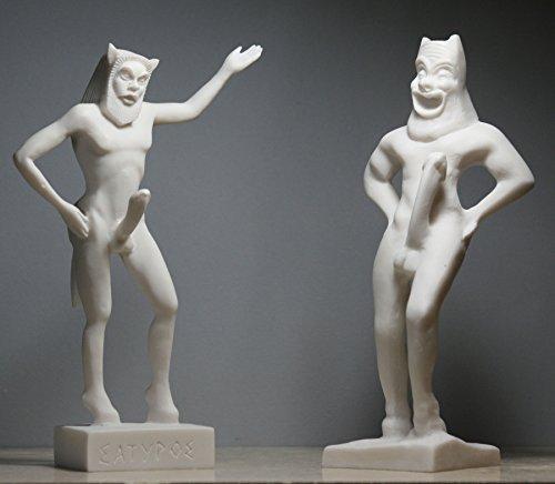 Set 2Satyr Faunus Faun Gemeine männlicher Akt Penis griechischen Statue Skulptur