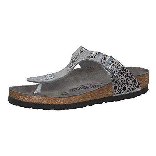 BIRKENSTOCK Damen Zehentrenner Gizeh Metallic Stones Silver Gray 39 (Schuhe Silber Grau-metallic)