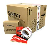10 Strong Cardboard Storage Packing Moving House Boxes Double Walled with Fragile Tape and Black Marker Pen and 10 Fragile Stickers 47cm x 31.5cm x 30cm 44 Litres