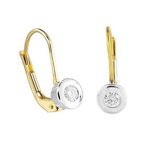 Diamond Line Damen - Ohrhänger 585er Gold 2 Diamanten ca. 0,16 ct. gW-Lupenrein, gelbgold