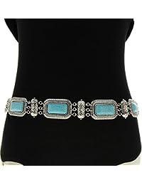 Fashiongen - Ceinture chaines turquoises CLAIRE