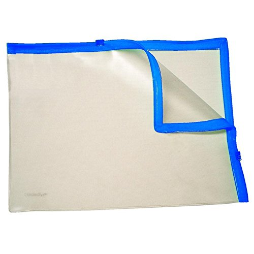 Klarsicht-Sammelbeutel für A4, mit 2 Plastik-Zips, PVC, Zipp blau, 10 Stück