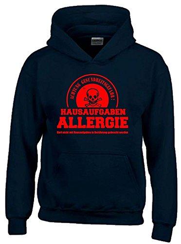 Coole-Fun-T-Shirts Hausaufgaben ALLERGIE - Vorsicht Gesundheitsgefahr ! Nicht mit Hausaufgaben in Verbindung bringen ! Kinder Sweatshirt mit Kapuze Hoodie schwarz-rot, Gr.164cm -