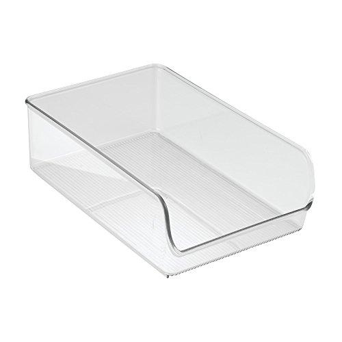 InterDesign Linus Aufbewahrungsbehälter, großer Küchen Organizer aus bruchsicherem Kunststoff, durchsichtig (Größe Schreibtisch Kühlschrank)