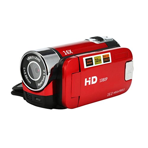 99native Videokamera HD Digitalkamera, 1080P Handkamera 16x Digitalzoom LED-Beleuchtung DV-Kamera (Rot) Zoom Lcd Flash