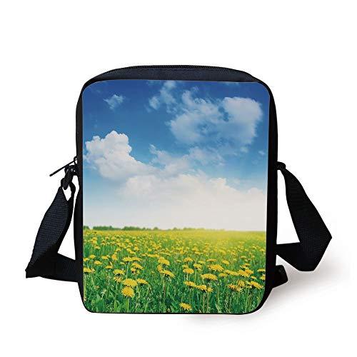Yellow and Blue,Summer Daisy Flower Field Environment Refreshing Grassland Growth,Green Blue Yellow Print Kids Crossbody Messenger Bag Purse (Coach Laptop Bag 13)