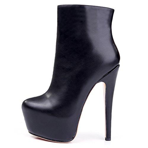 Onlymaker Damen Pumps Stiefel High Heel Fashion Ankle Boots mit Rei?Verschluss Plateau Schwarz EU46