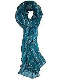 TOOGOO(R) Sweet Symphony Allover Music Notes Scarf blue