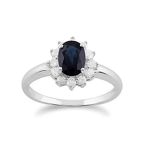 Gemondo Bague Saphir, 9ct Or Blanc 1,11 Ct Saphir Bleu & Diamant Ovale Bague Grappe