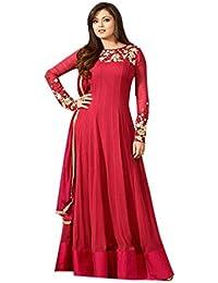 Ethnic Wings Women Georgette Anarkali Semi-Stitched Salwar Suit (EW&ER_ER10739_Red_Free Size)